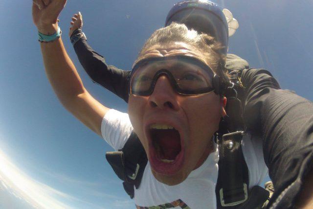 Tandem skydiver enjoying the rush of free fall at Chattanooga Skydiving Company