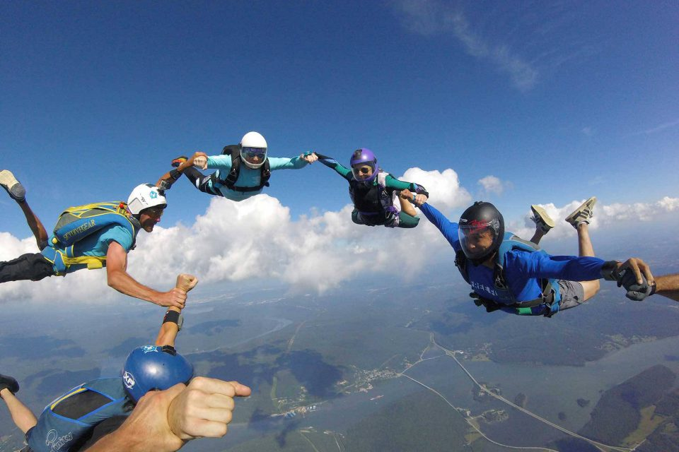 Fun jumpers in free fall at Chattanooga Skydiving