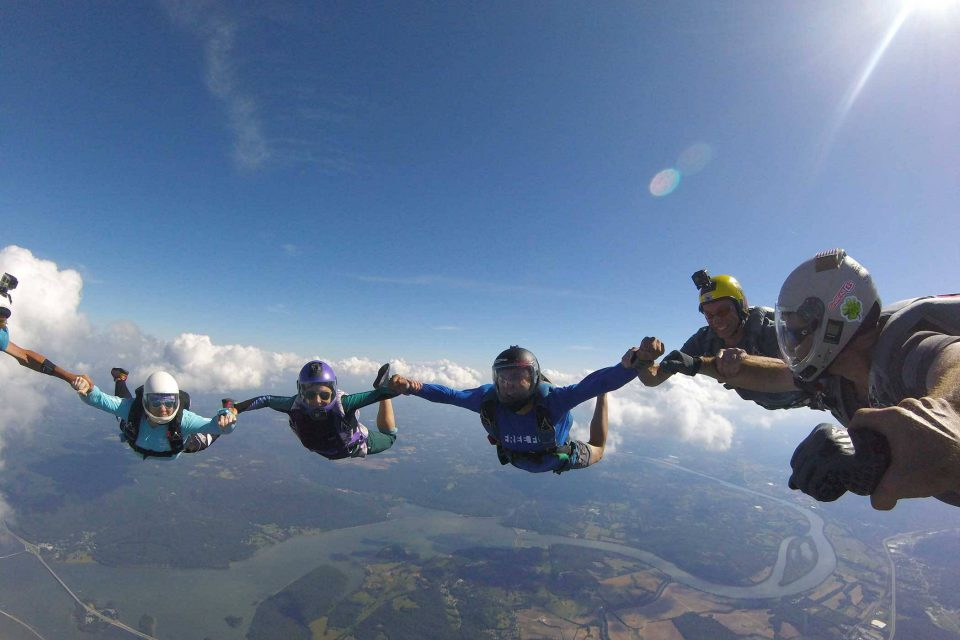 Fun jumpers at Chattanooga Skydiving Company enjoying free fall
