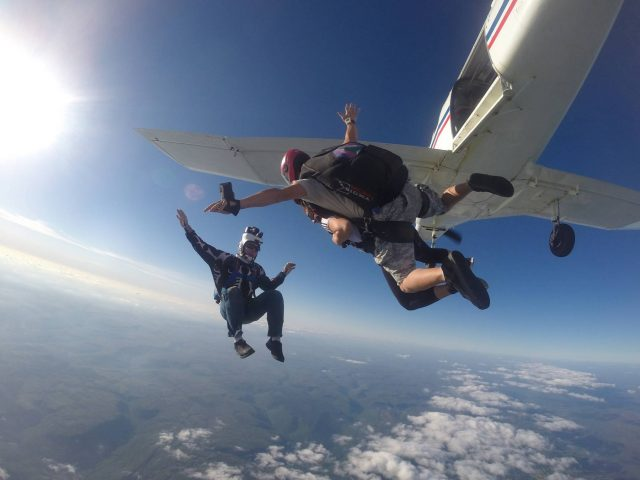 Tandem skydiver in free fall after leaping from the Chattanooga Skydiving Company airplane